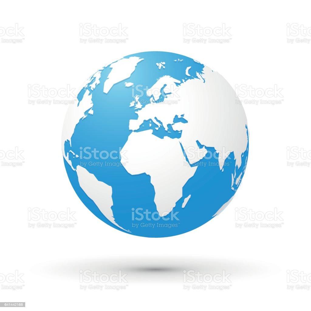 globo del mundo mapa ilustración blanco azul - ilustración de arte vectorial