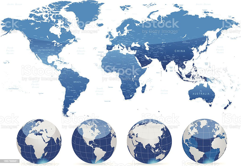 World map blue with countries, cities and globes royalty-free stock vector art