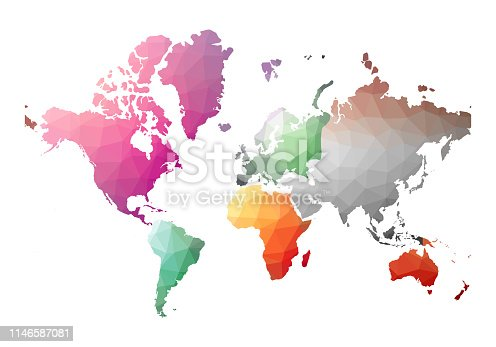 World Map. brilliant low poly style. Vector illustration.