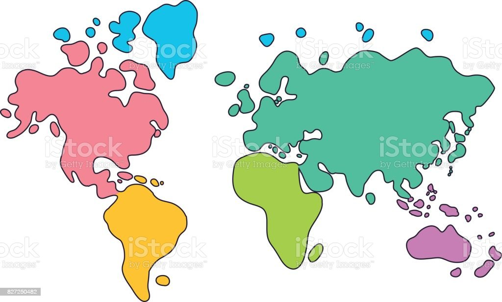 World Map Colored Continents. world map cartoon continents in ...