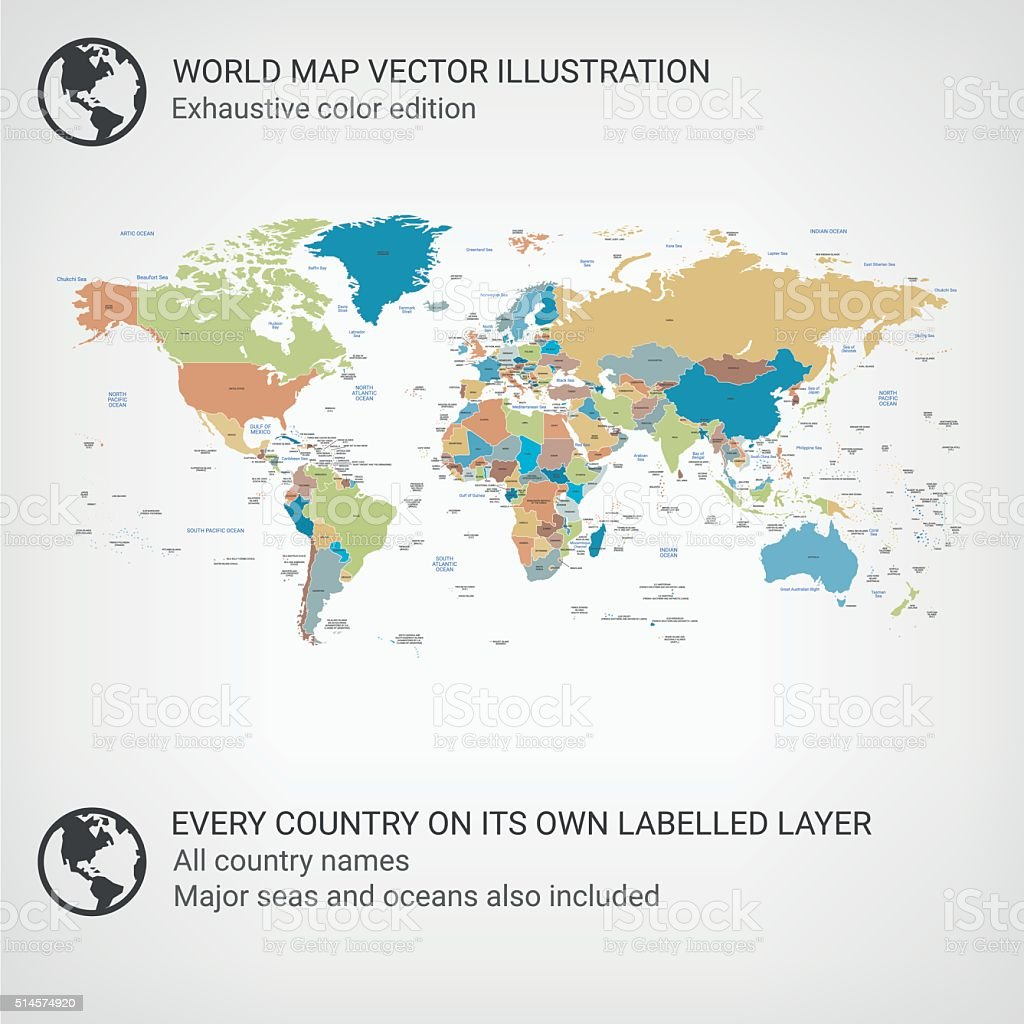 World Map color edition vector art illustration