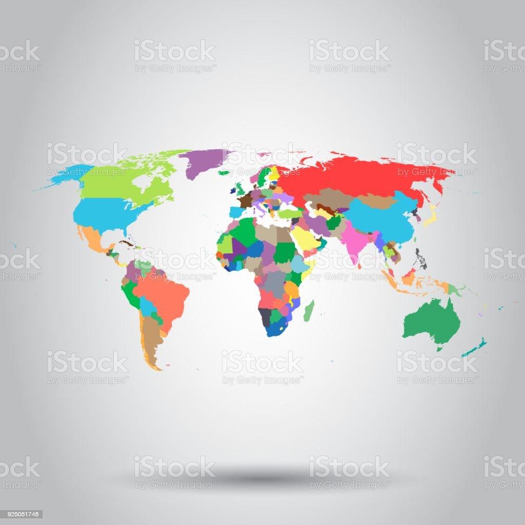 世界地図のカラフルな政治アイコンビジネス コンセプト世界地図