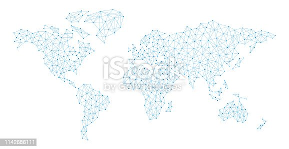 World Map Connection Polygon Line Plexus - vector illustration