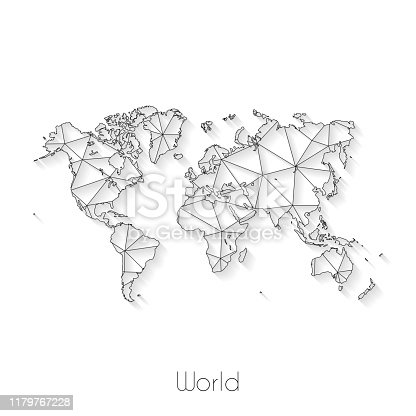 World map created with a mesh of thin black lines and a light shadow, isolated on a blank background. Conceptual illustration of networks (communication, social, internet, ...). Vector Illustration (EPS10, well layered and grouped). Easy to edit, manipulate, resize or colorize.