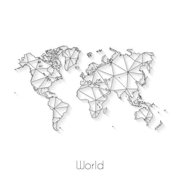 World map connection - Network mesh on white background vector art illustration