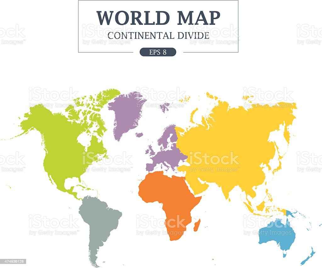 World Map Continental Divide. Full Color. vector art illustration