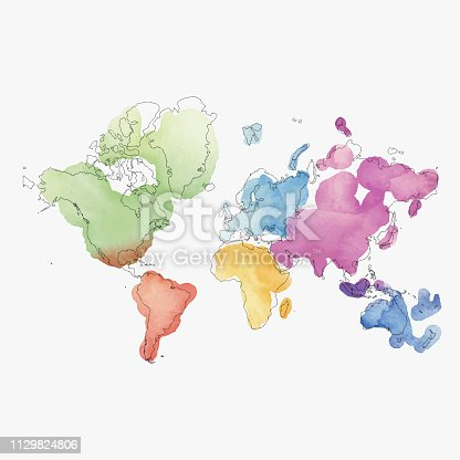 istock World map continents in watercolor paintings 1129824806