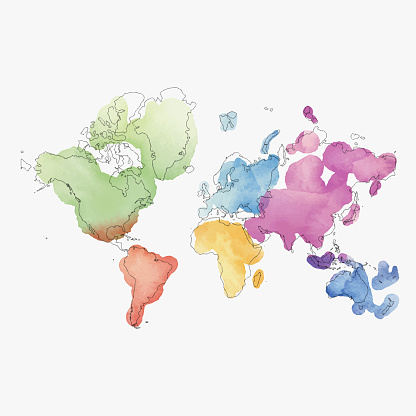 World map continents in watercolor paintings