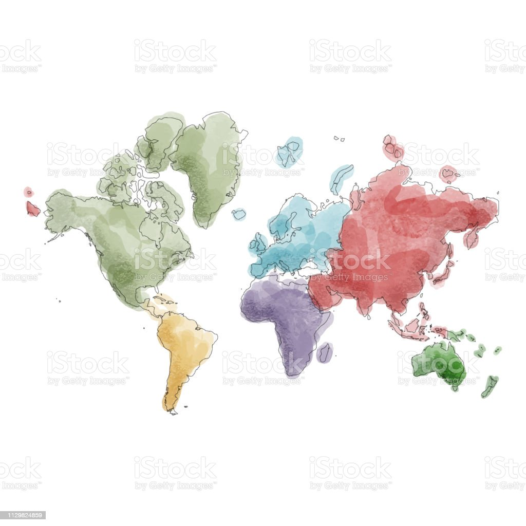 World Map Continents In Watercolor Paintings Stock Vector Art More
