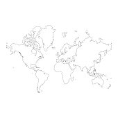 Vector illustration of a world map with its continents