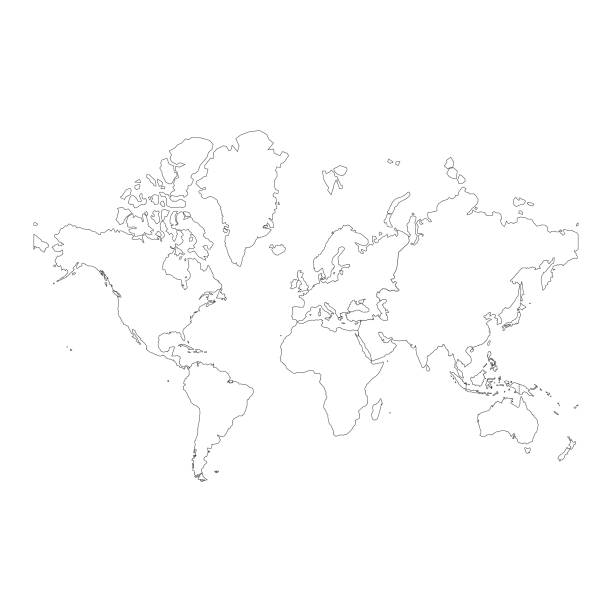 world map continents - world map stock illustrations, clip art, cartoons, & icons