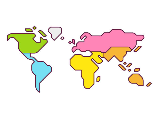 World map continents Simplified world map infographic with continents in different color. Modern flat vector style illustration. latin america stock illustrations