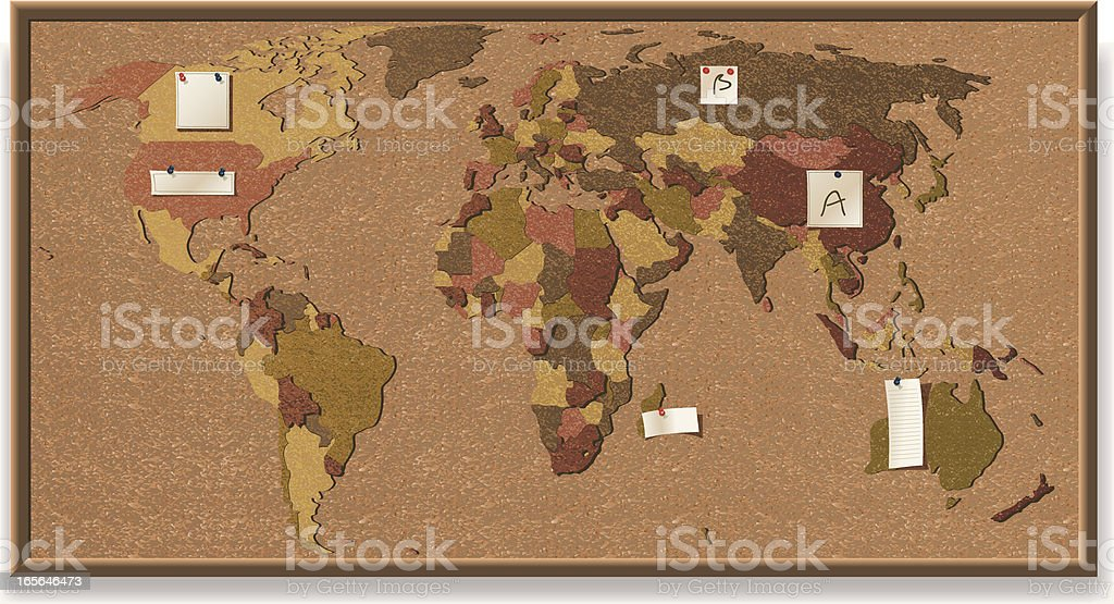 World map cork board stock vector art more images of bulletin world map cork board royalty free world map cork board stock vector art amp gumiabroncs Images