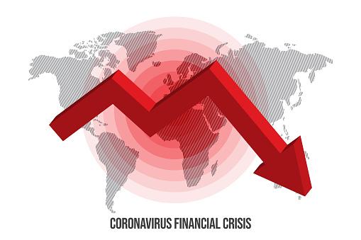 World Map. Coronavirus or Covid-19 financial crisis concept design stock illustration. Covid-19 Vector Template