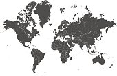 world map countries gray vector