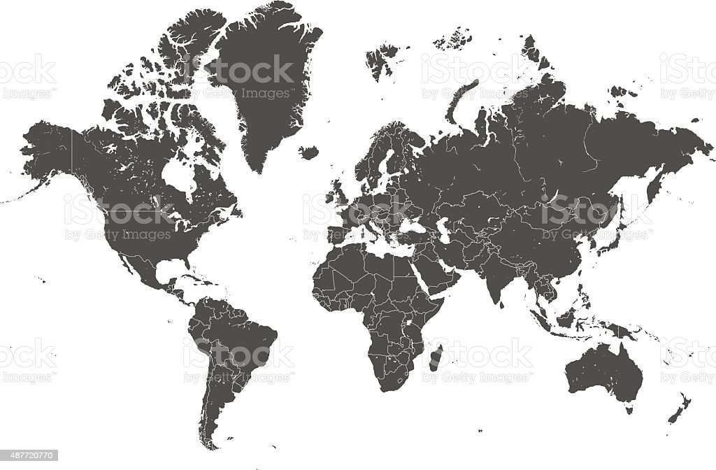 world map countries gray vector vector art illustration