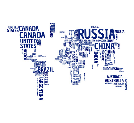 World map countries' names