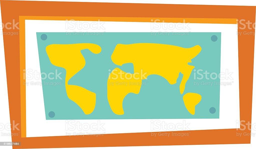 Weltkarte Ländern Bilderrahmen Vektorreise Geografie Vektor ...