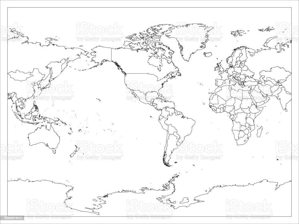 World map country border outline on white background america world map country border outline on white background america centered map of world vector gumiabroncs Gallery