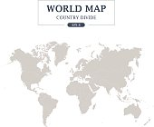 World Map Country Divide on White Background. Grey Color