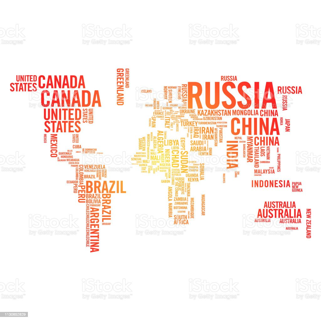 World Map Country Names Color Gradient Stock Illustration ...