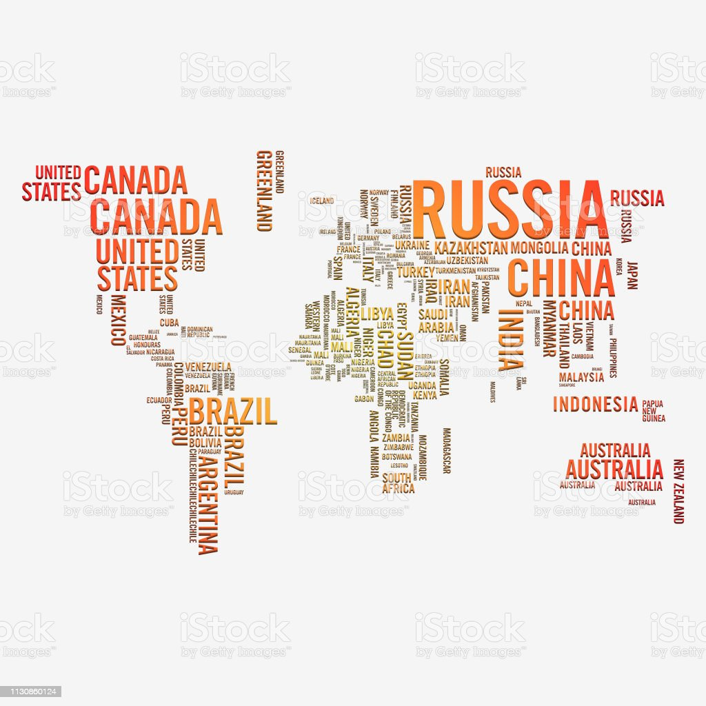 World Map Country Names Paper And Shadow Effect Stock ...