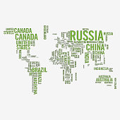 Vector illustration of a design of the world map built with the names of the countries and with a paper and shadow effect style