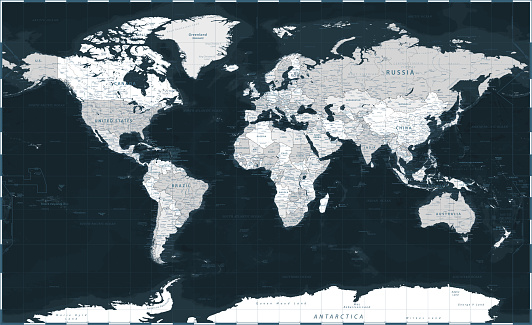 World Map - Dark Black Grayscale Silver Political - Vector Detailed Illustration