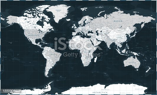 istock World Map - Dark Black Grayscale Silver Political - Vector Detailed Illustration 1222308607