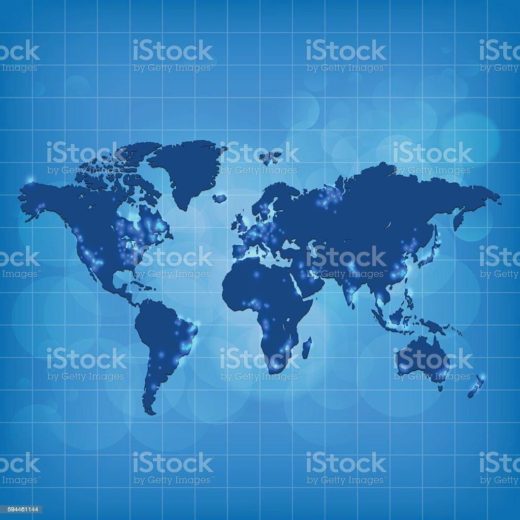 Vetores de World Map Dark Blue On Blue Grid Lines Background e mais imagens  de Azul