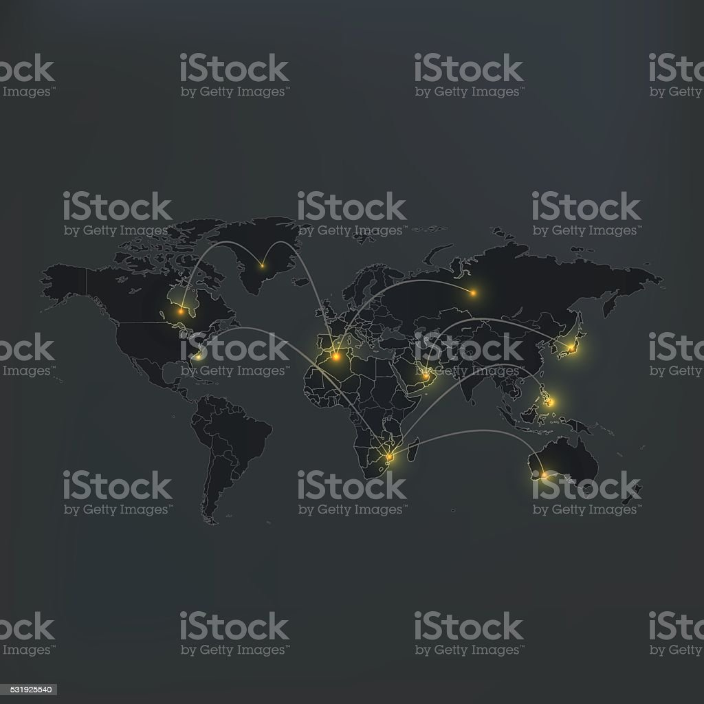 World map dark grey background with lights and connections stock world map dark grey background with lights and connections royalty free stock vector art gumiabroncs Images