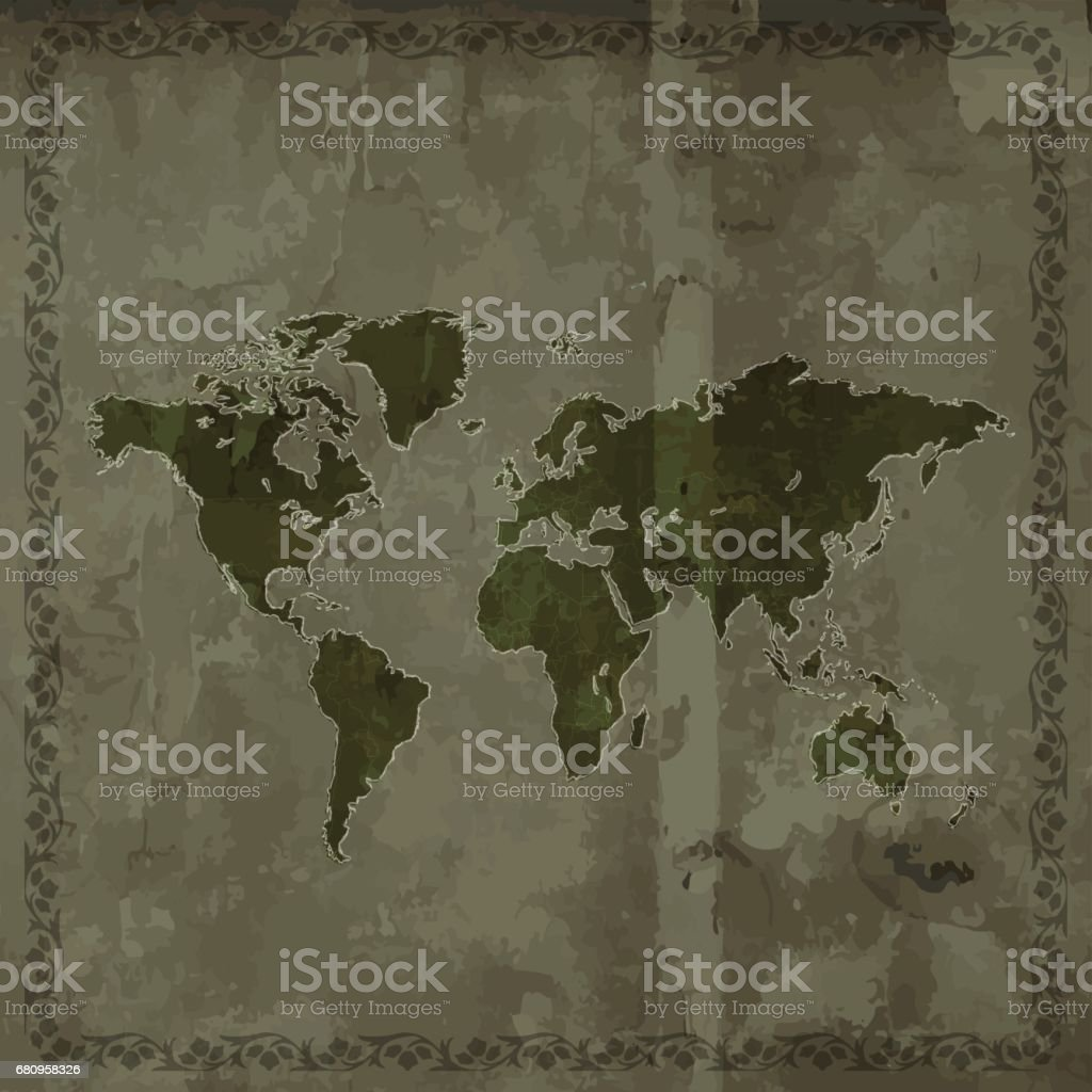 World map dark grunge retro style on wooden background royalty-free world map dark grunge retro style on wooden background stock vector art & more images of art deco