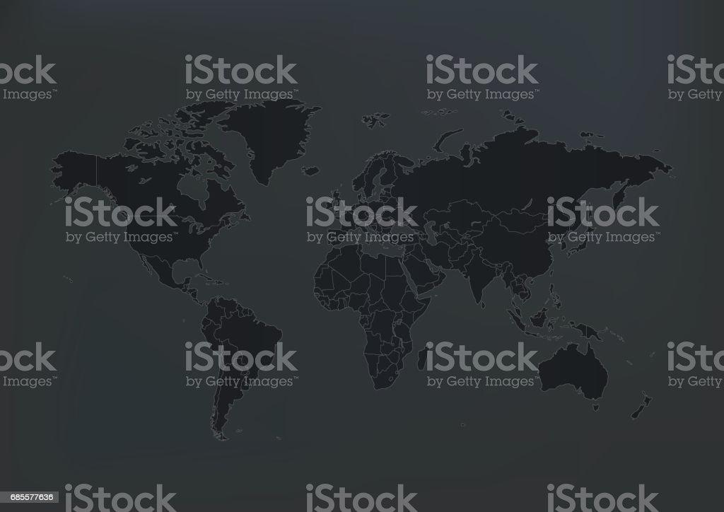 회색 배경에 어두운 세계 지도 royalty-free 회색 배경에 어두운 세계 지도 검정에 대한 스톡 벡터 아트 및 기타 이미지