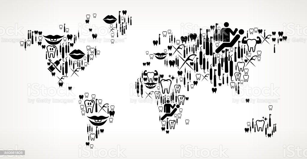 World Map Dentist and Dental Vector Icon Pattern vector art illustration