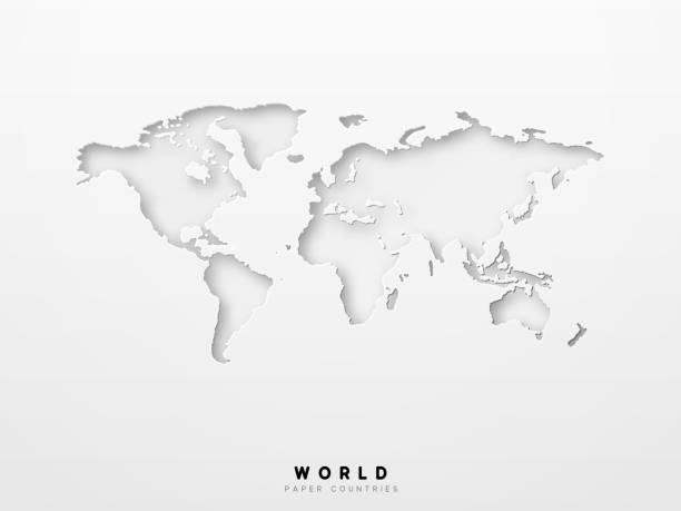 mapa świata szczegółowy projekt białego koloru wyciętego z papieru - mapa świata stock illustrations