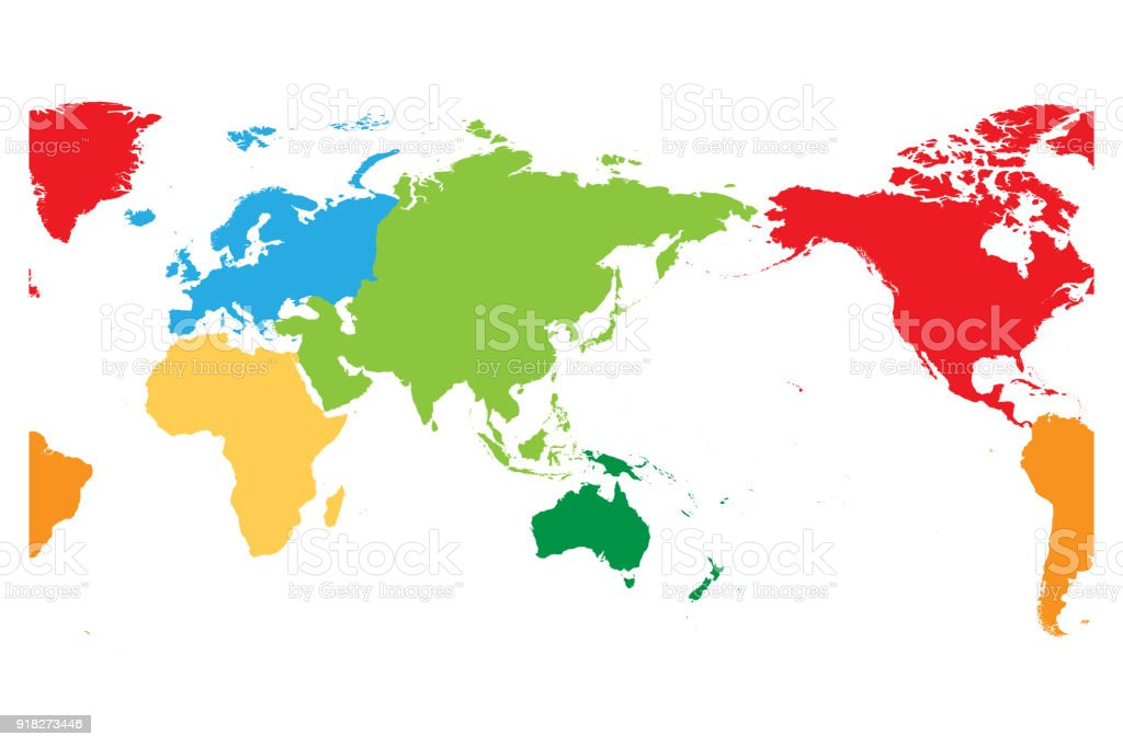 World map divided into six continents asia and australia centered world map divided into six continents asia and australia centered each continent in different gumiabroncs