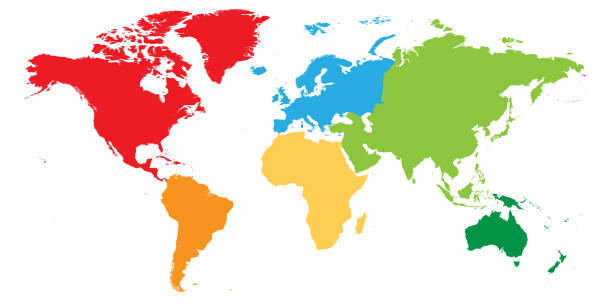 World map divided into six continents. Each continent in different color. Simple flat vector illustration World map divided into six continents. Each continent in different color. Simple flat vector illustration. continent geographic area stock illustrations
