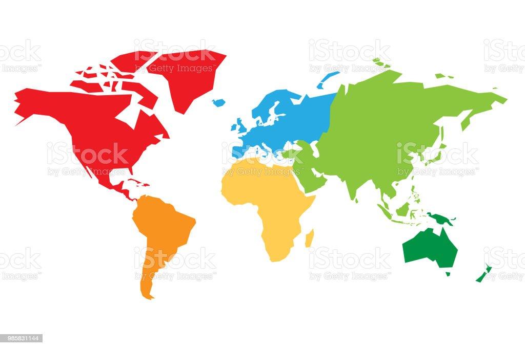Carte Du Monde Continents.Carte Du Monde Divise En Six Continents Chaque Continent En Differentes Colories Illustration Vectorielle Plane Simple Vecteurs Libres De Droits Et