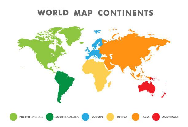 mapa świata podzielona na sześć kontynentów w różnych kolorach. - mapa świata stock illustrations