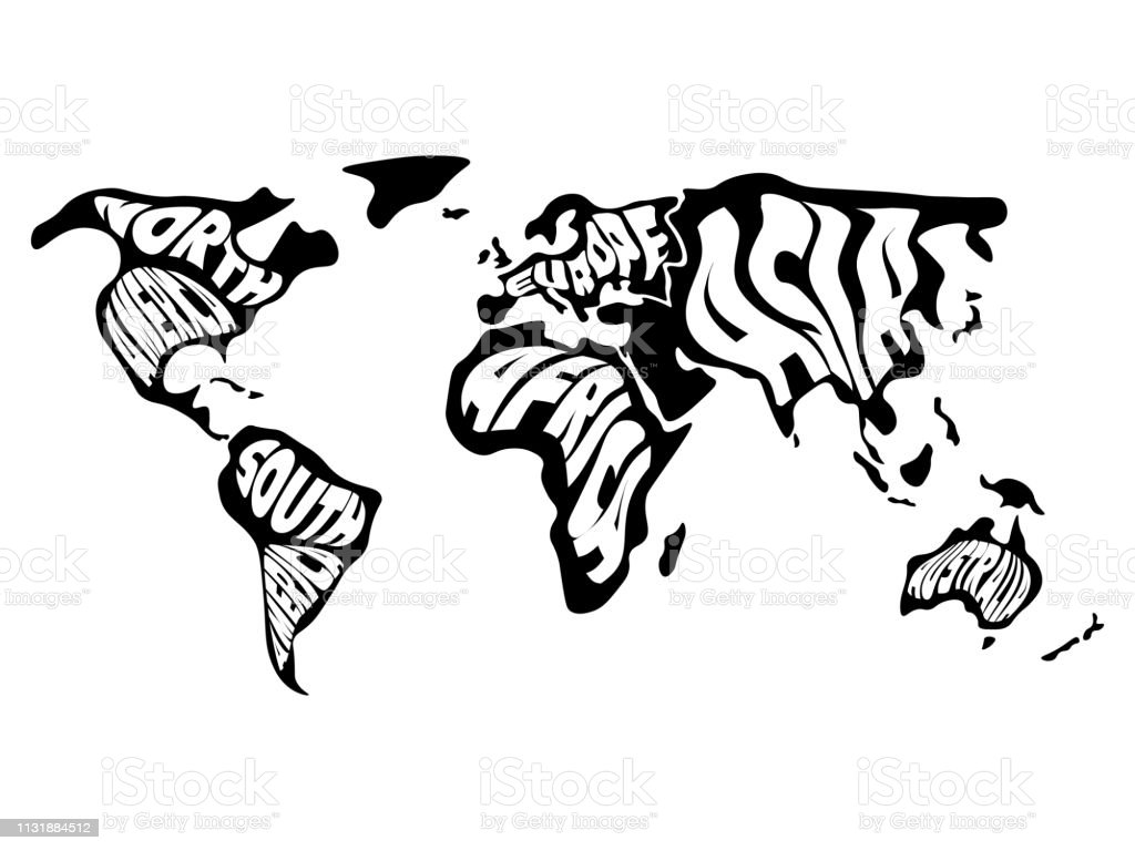 World Map Divided Into Six Continents Name Of Each Continent Wrapped