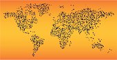 World Map made of vector ink splats, easy to change colors.