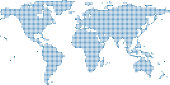 This abstract dotted World map is accurately prepared using the overlaid vector map of the World with highly detailed information. The map is prepared by a GIS and remote sensing specialist.