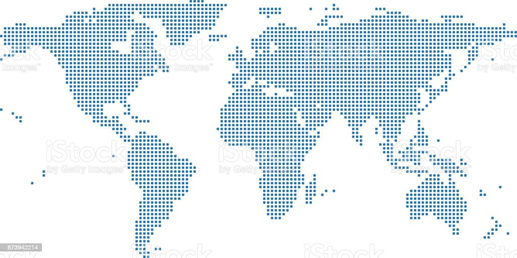World map dots vector outline illustration background. Dotted World map. Highly detailed pixelated World map in blue background vector art illustration