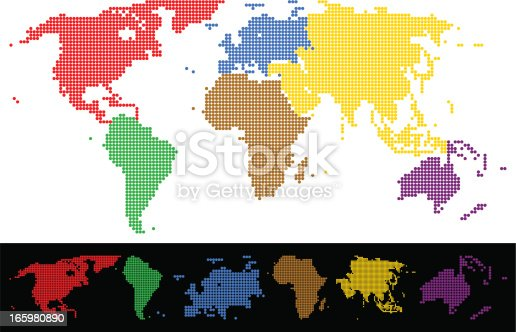World map dotted colorful continents stock vector art more images world map dotted colorful continents stock vector art more images of africa 165980890 istock gumiabroncs Images