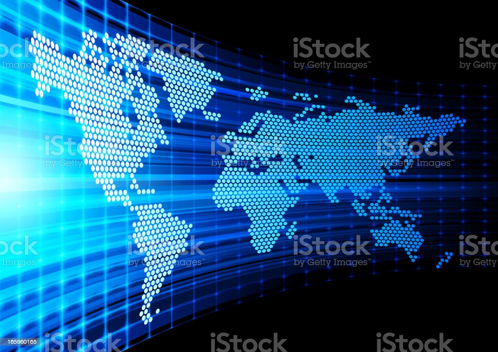 World Map dotted on abstract background royalty-free stock vector art