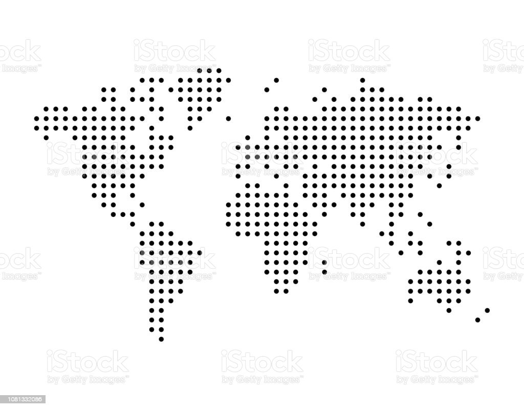 Image of: World Map Drawn With Dots Simple Black Illustration Stock Illustration Download Image Now Istock