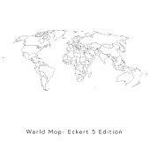 Vector illustration of an Eckert 3 World Map