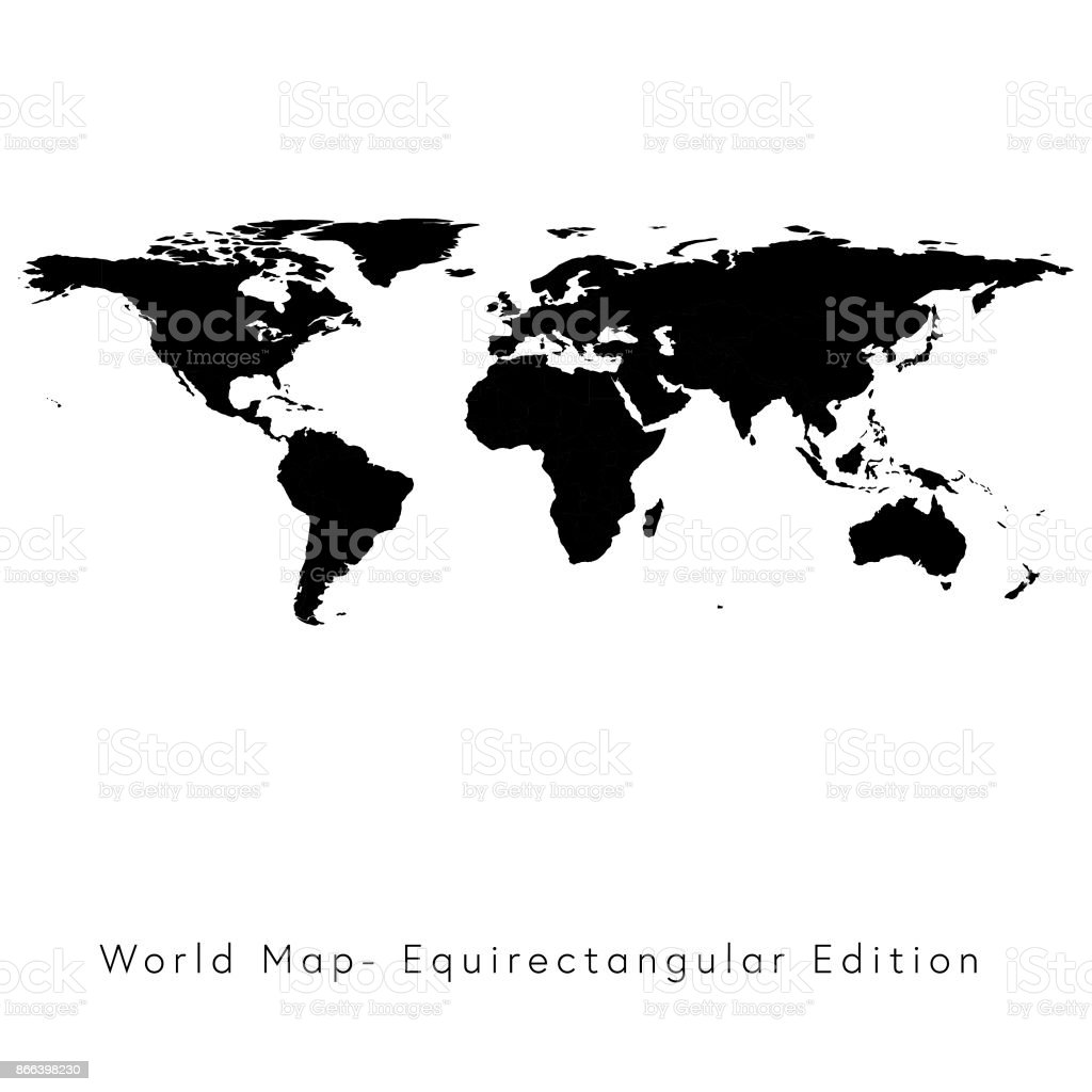 World Map Equirectangular Edition Stock Vector Art More Images Of