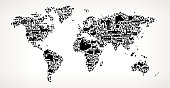 World Map Farming and Agriculture Black Icon Pattern . The black vector icons create a seamless pattern and include popular farming and agriculture. This black and white icon patter inclides: Farm house, farm animals, fruits and vegetables and seasonal food items. The icons are carefully arranged on a light background and vary in size.