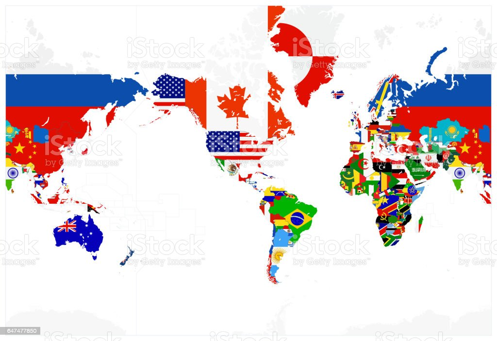 World map flags america in center isolated on white arte vectorial world map flags america in center isolated on white world map flags america in gumiabroncs Images